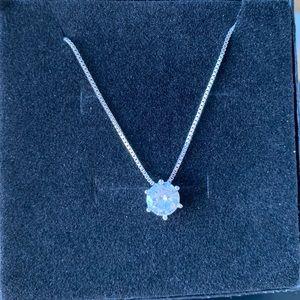 brand new 925 Shiny big zircon silver necklace